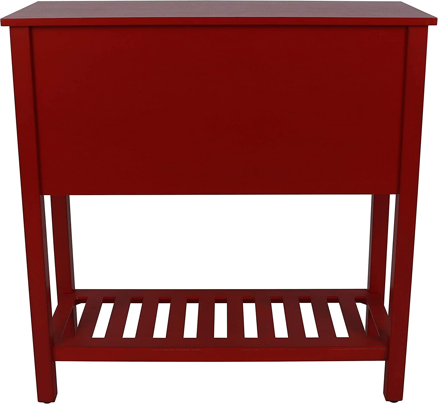 14x32x32 Antique Red Decor Therapy Bailey Bead Board 4-Drawer Console Table