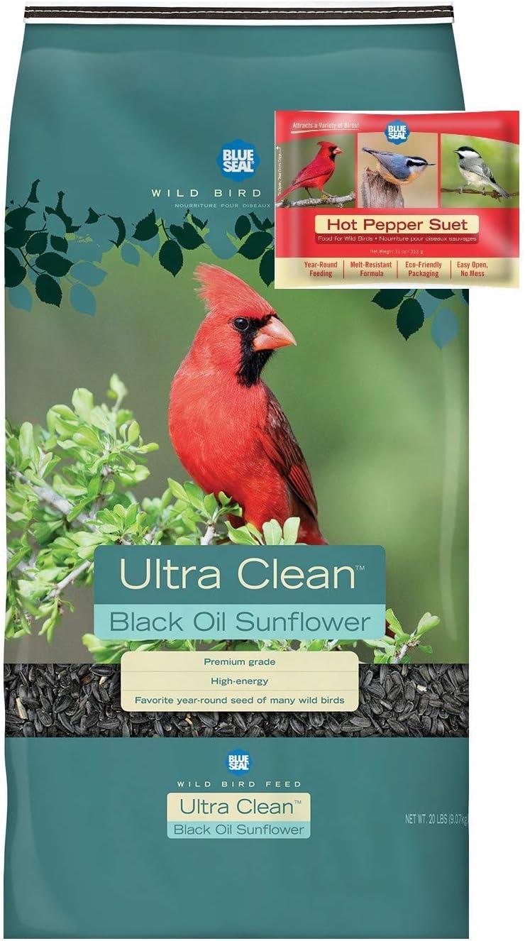 BLUE SEAL Ultra Clean Black Oil Sunflower Bird Seed & Hot Pepper Suet Cake Bundle