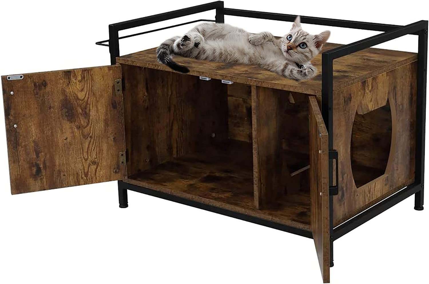 Cat Litter Box Enclosure Furniture, Decorative Cat House and Side Table, Wooden Cat Home Nightstand Hidden, Indoor Pet Crate, Privacy Cat Washroom Bench with Metal Frame and Wood Sturdy Structure, A