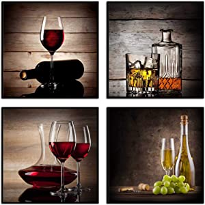 SpecialArt0043 (02: Wine) Framed Canvas Wall Art Red Wine Grape Cups Modern 4 Pieces Abstract Canvas Prints Artwork Contemporary Vintage Pictures for Kitchen Wall Decorations Bar Interior Decor 4 pcs 12 x 12 Inch