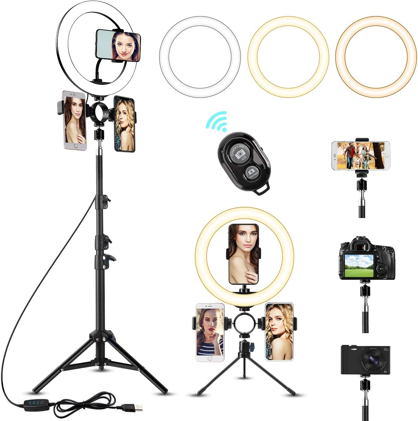 """10"""" LED Selfie Ring Light with 2 Tripod Stand & 3 Cell Phone Holder 3 Lighting Modes 10 Dimmable Brightness for Live Streaming YouTube Video Photography Makeup Circle Light for iPhone Android Camera"""