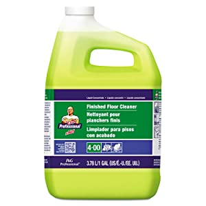 P&G Professional Floor Cleaner from Mr. Clean Professional, Bulk Liquid Concentrate fro Hardwood, tile or Terrazo Floors, Commercial Use, Lemon Scent, 1 Gal. (Case of 3) - PGC02621CT,Yellow