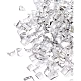 GASPRO 15 LB Mirrored Fire Glass, 1/2 Inch Clear Reflective Tempered Fire Glass Rocks for Fireplace and Fire Pit