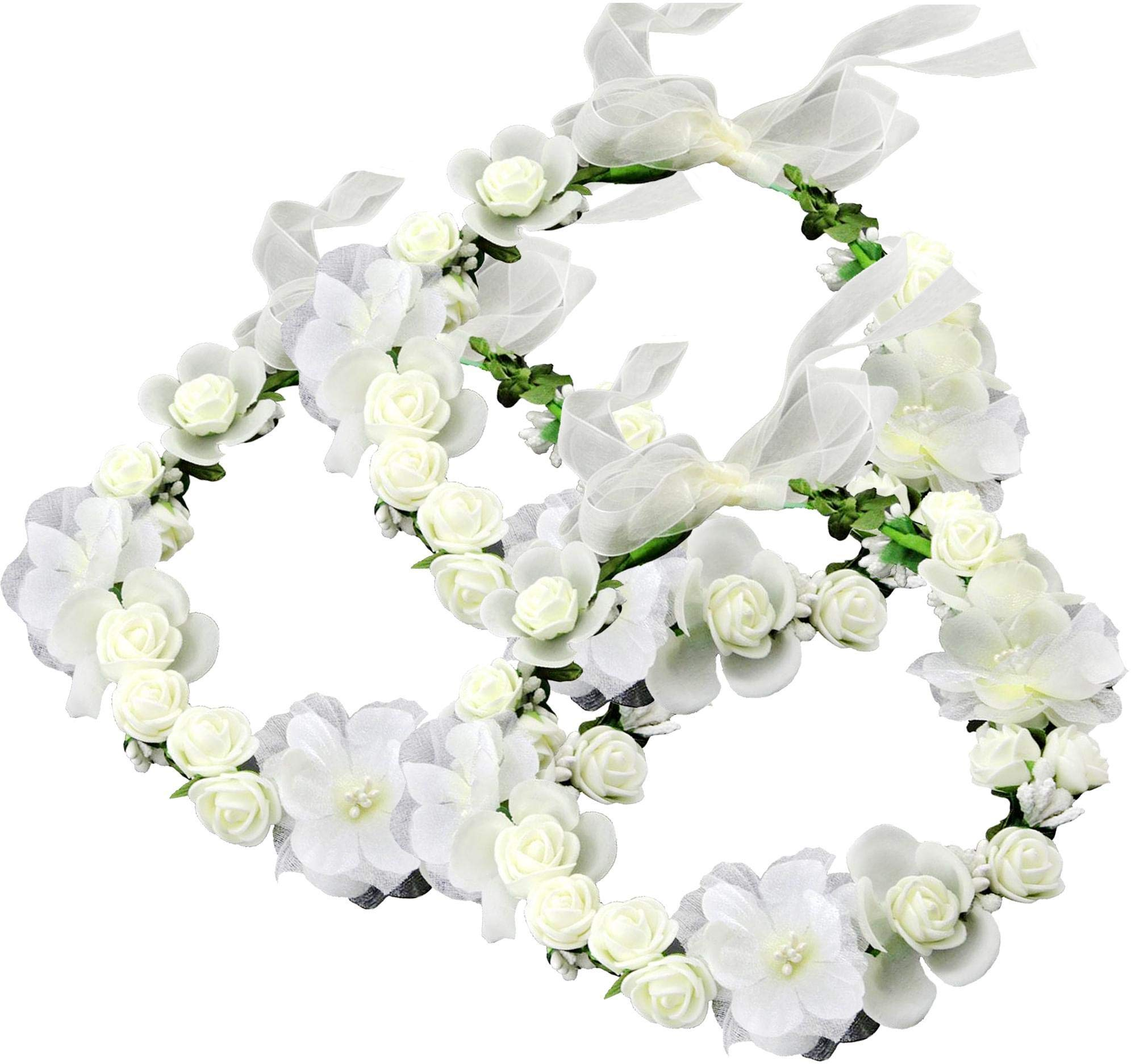 Flower Crown Floral Headbands Headpiece Wreath Girls Womens Artificial White Silk Roses Wedding Bridal Kids Toddler Boho (3), White, Ivory
