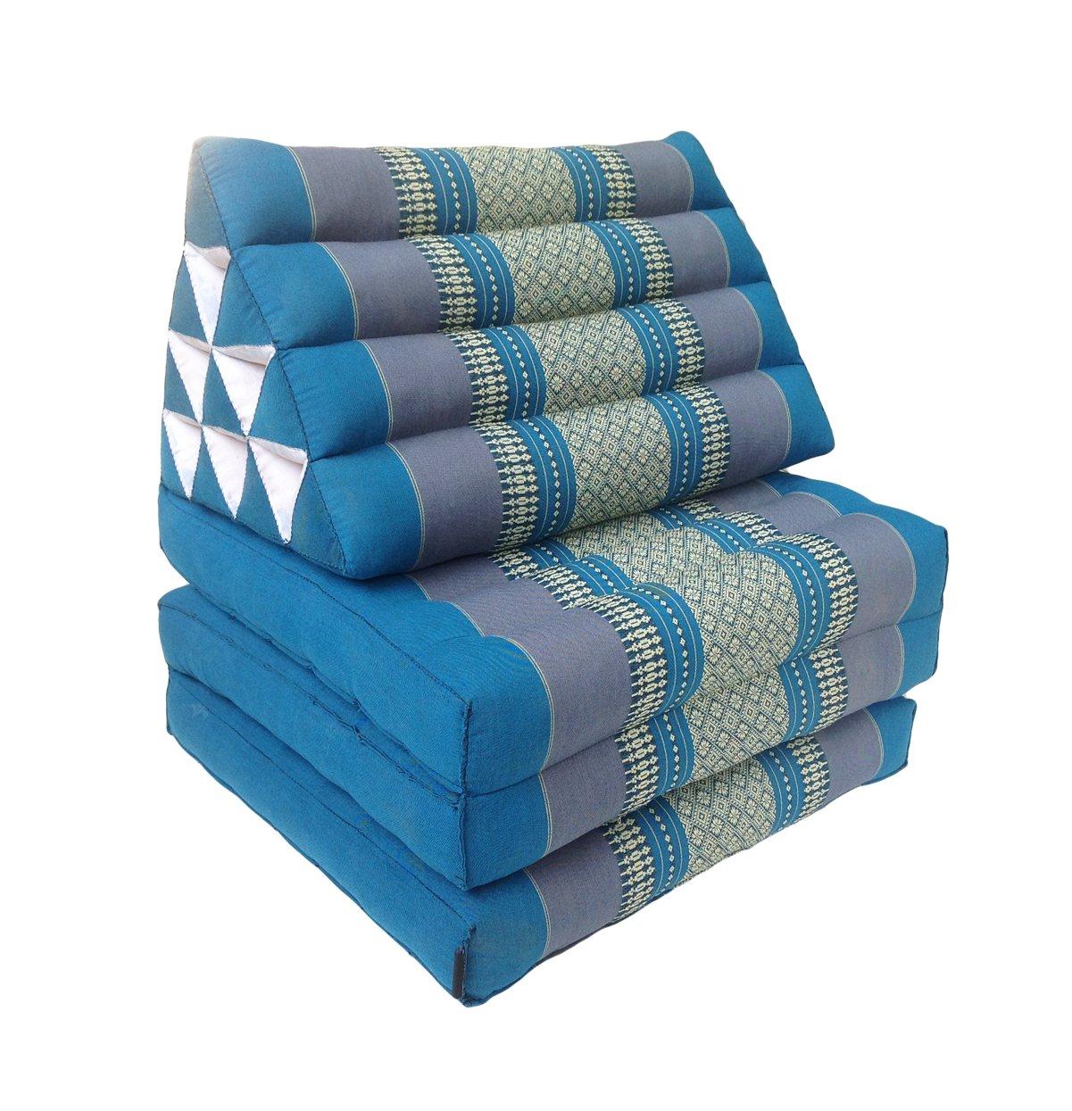 Colchón de meditación tailandés de fibra Kapok de 3 pliegues, estilo oriental, con respaldo triangular y almohadón de meditación Zafu a juego, para yoga, ...
