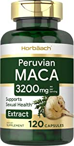 Peruvian Maca Root Capsules | 3200mg | 120 Count | High Potency Pills | Non-GMO, Gluten Free Supplement | by Horbaach