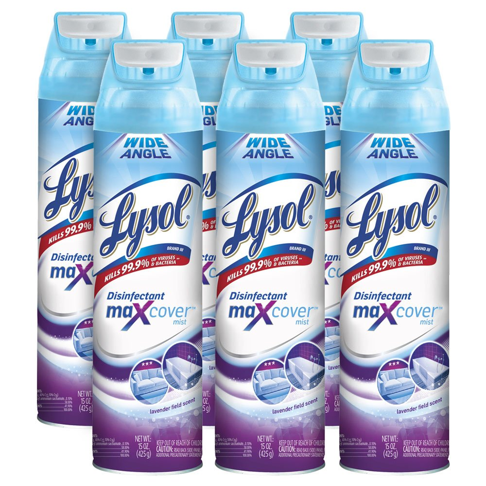 Lysol Max Cover Disinfectant Mist, Lavender Field, 90oz (6X15oz), 2X Wider Coverage