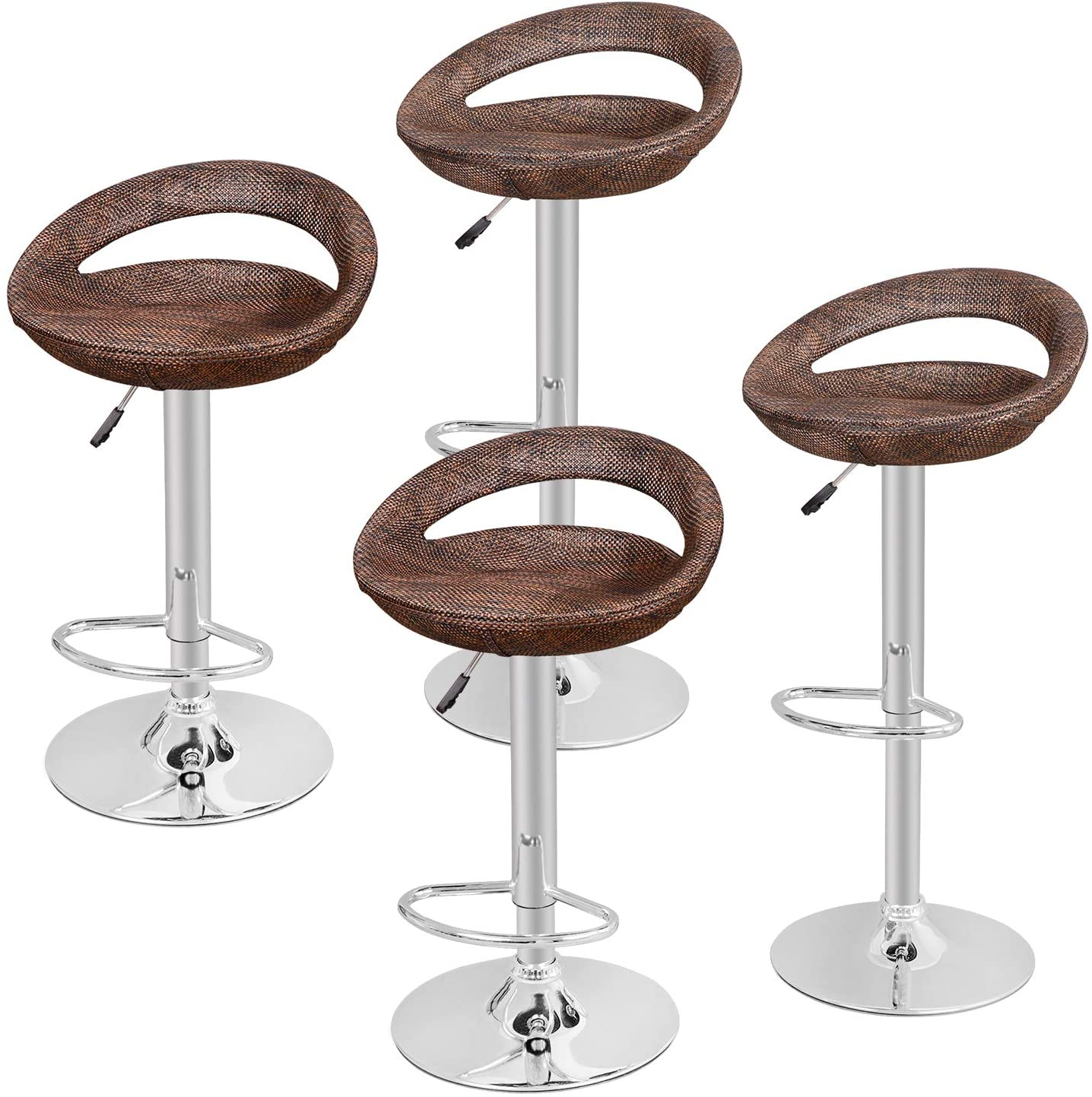 Zeny Set Of 4 Adjustable Bar Stools Pub Swivel Barstool Chairs With Back Pub Kitchen Counter Height Modern Patio Barstool Kitchen Dining