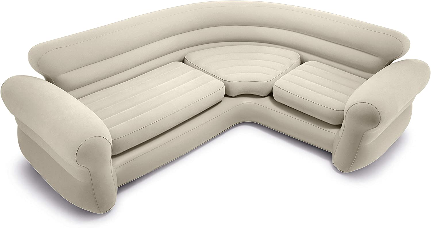 Sofá rinconera hinchable, 257x203x76 cm, color crema, three_seats, pvc - 97%; rayon – 3%
