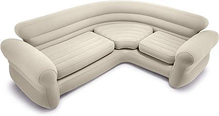 Sofá rinconera hinchable Intex con capacidad para 4 personas, las medidas son: 257x203x76 cm,De colo