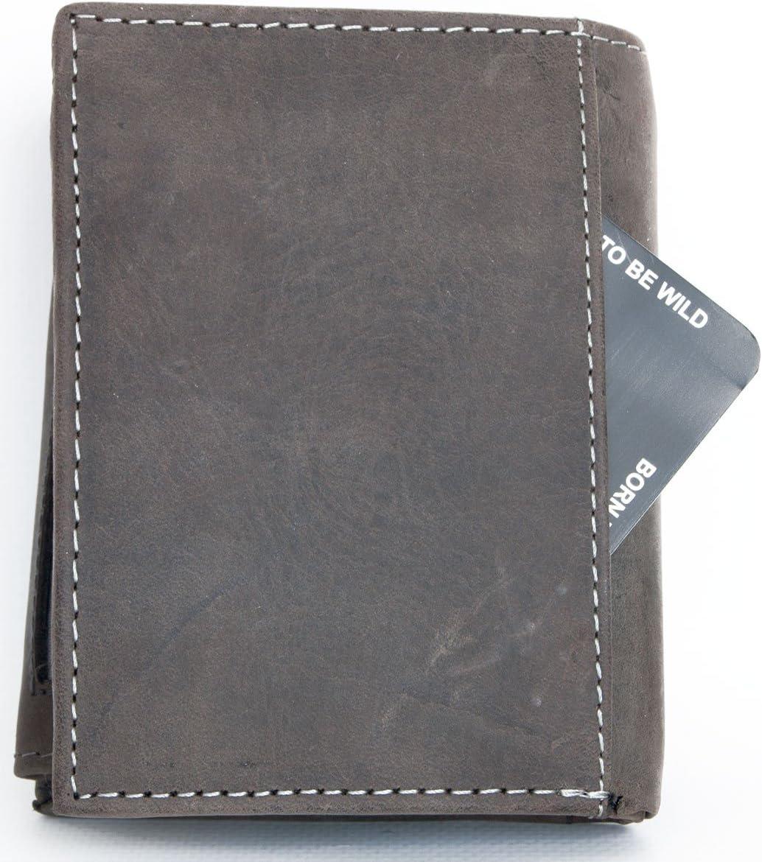 FLW-HL Forte gris-brun cuir v/éritable portefeuille The wild force avec un taureau