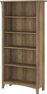 Bush Furniture Salinas Tall 5 Shelf Bookcase, Reclaimed Pine