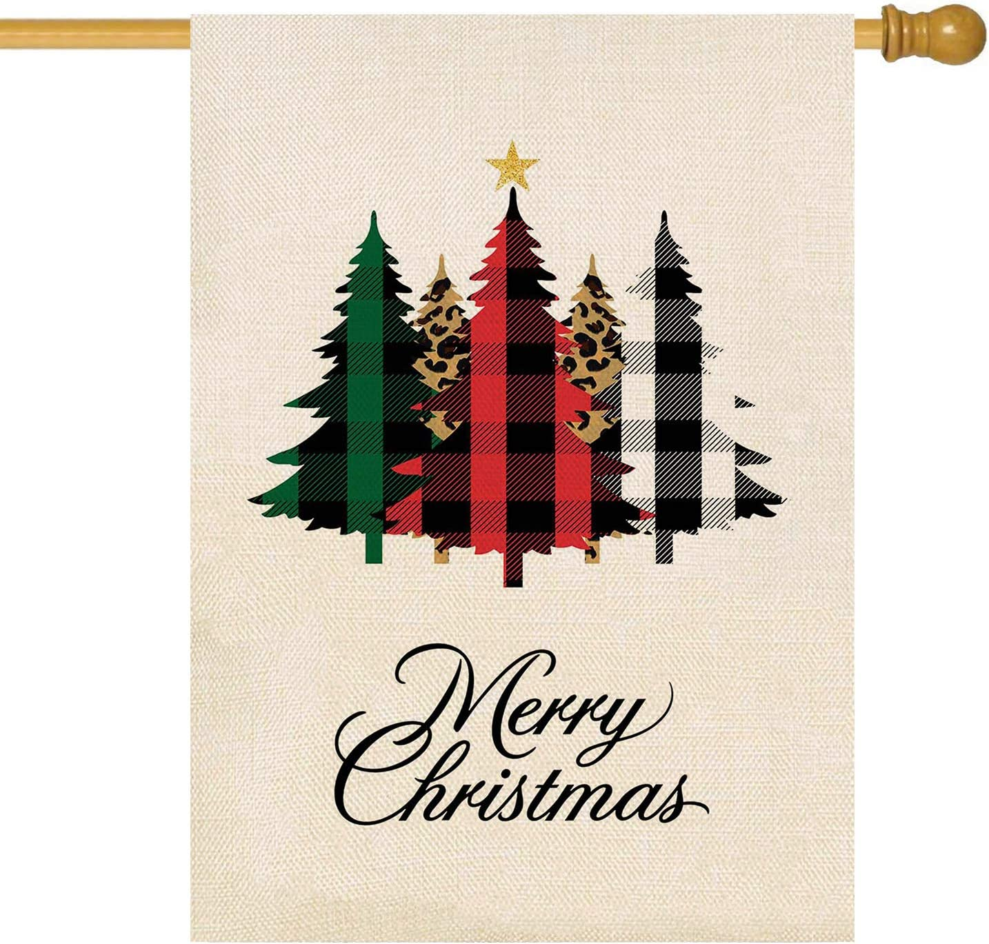 ORTIGIA Merry Christmas Tree Garden House Flag Burlap Vertical Double Sided Buffalo Check Plaid Tree Farmhouse Xmas Winter Holiday Small Yard Flag Lawn Outdoor Home Indoor Decoration 28x40inch