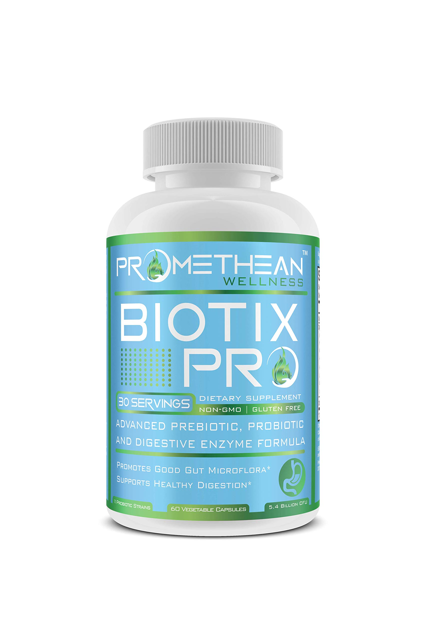 Biotix PRO Advanced Prebiotics and Probiotics Plus Digestive Enzymes for Men and Women Rebalance Your Gut Microbiome Health 60 Count Powder Capsules by Promethean Wellness