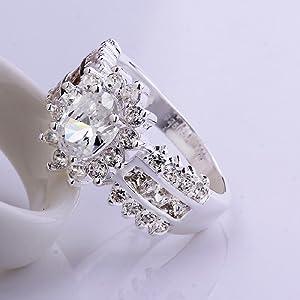 fashion 925 de plata de ley incrustaciones de joyería multi zircon ...