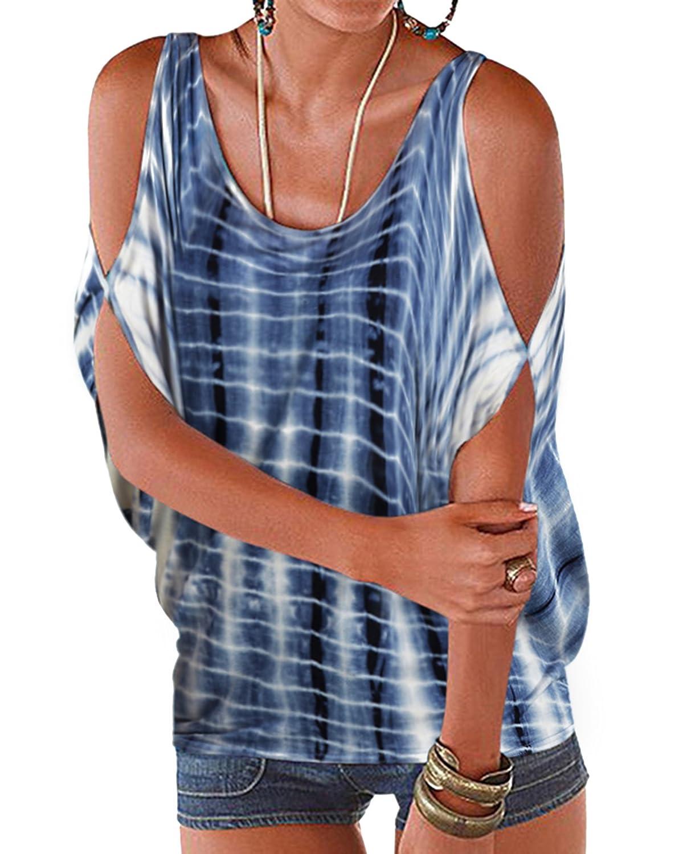 YOINS Womens Cold Shoulder Casual Summer Top Scoop Neck Off Shoulder Lace-up Solid Color Shirt Blouse YOINSXzesoil12071