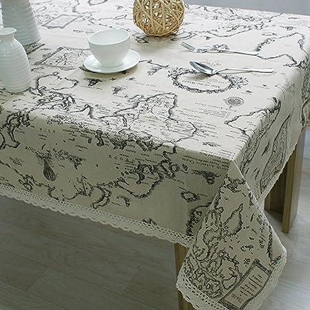 Sytone Mantel rectangular con impresión de mapamundi para ...