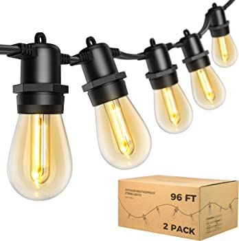 2-Pack Litom 48ft Outdoor Patio LED String Lights