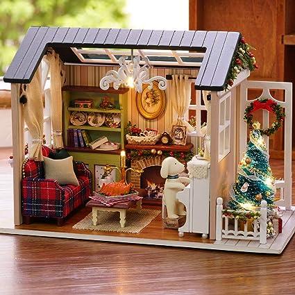 Christmas Miniatures.Amazon Com Walmeck Diy Dollhouse Christmas Miniature Kit