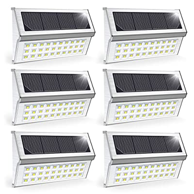 OSORD Upgrade Solar Deck Lights Metal Bright 30 LED Outdoor Solar Stair Lights Wall Light Waterproof Solar Powered Step Lights Auto On/Off for Garden Yard Fence Patio Pathway, Pack for 6 (Cool White)