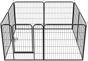YAHEETECH Decorative Garden Fence - 32 in x 21ft Rustproof Folding Fencing Landscape Patio Flower Bed Animal Barrier Border for Dog Outdoor Fences Black