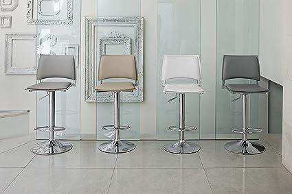 Coppia di sgabelli happy bianchi seduta regolabile in metallo
