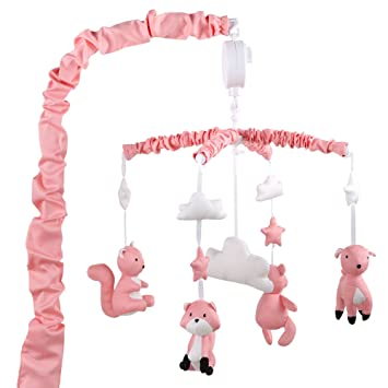 Coral Pink Digital Musical Mobile With Forest Animals by The Peanut Shell