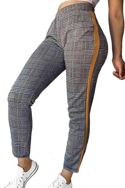 Suvotimo Pantalones De Tobillo A Cuadros Cintura Elástica Alta Casual para  Mujer  Amazon.es  Ropa y accesorios bd8ba122246d