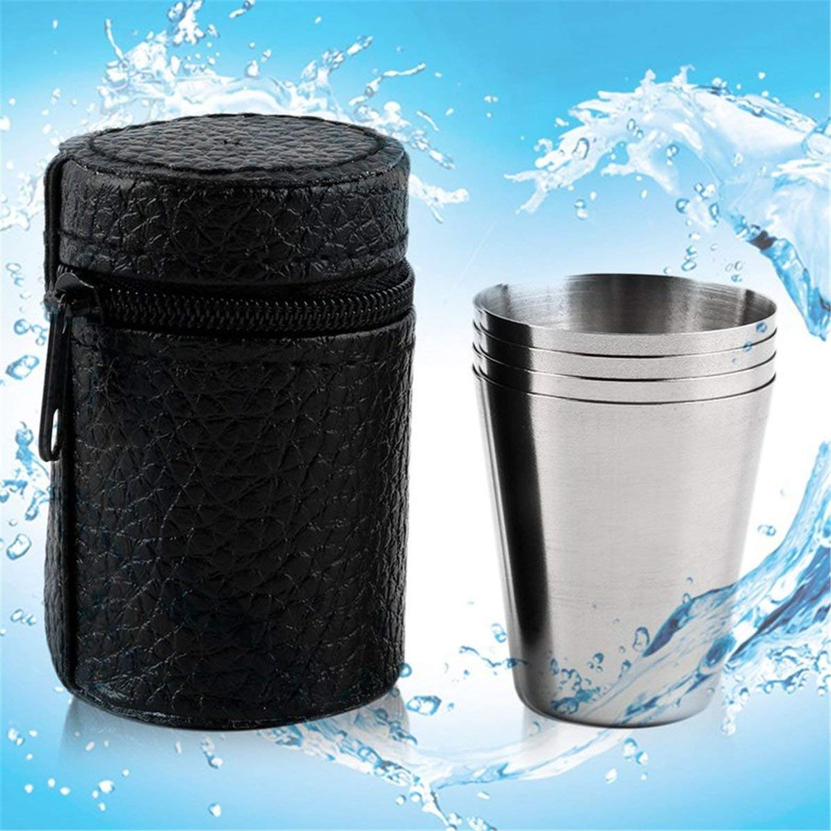 DoMoment Set di 4 Cover in Acciaio Inox Mug Camping Cup Mug Bere caff/è Tea Beer con Custodia Ideale per Camping Holiday Picnic