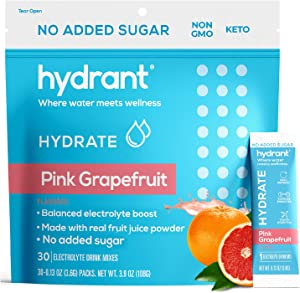 Hydrant Hydrate Grapefruit No Added Sugar 30 Stick Packs, Electrolyte Powder Rapid Hydration Mix, Hydration Powder Packets Drink Mix, Helps Rehydrate Better Than Water