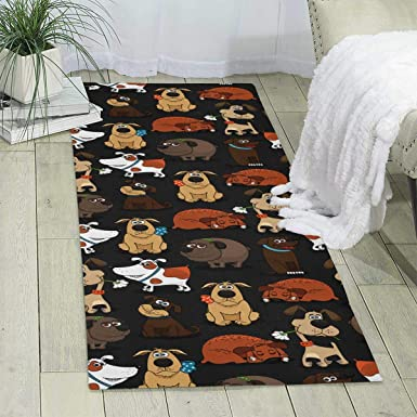 Amazon Com Workout Mat For Yoga Cute Dog Print Area Rug Runner Rug