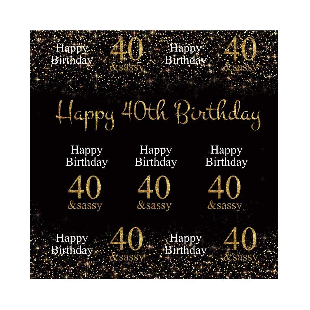Cassisy 2,5x2,5m Vinilo Fondo de Fotografia Feliz 40 cumpleaños Tema Dorado Brillo Sequinas Muro Negro Telón de Fondo Photo Booth Infantil Party Niños ...