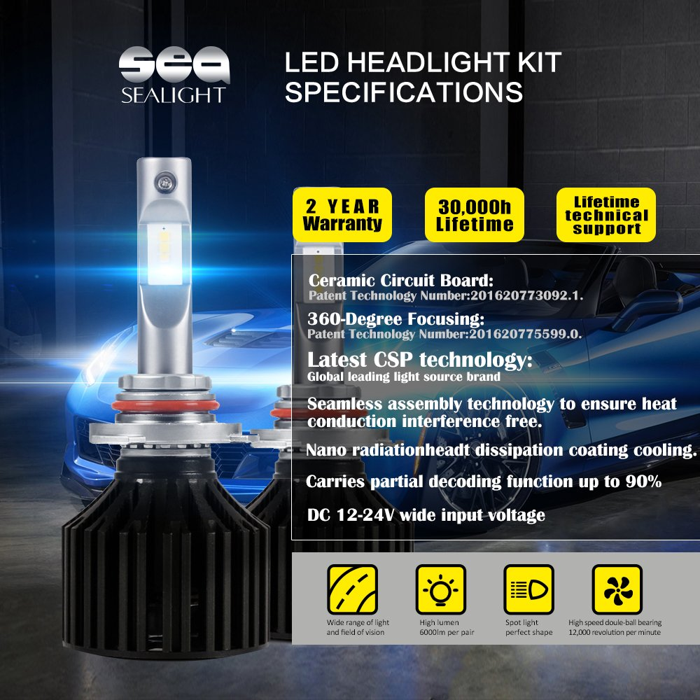 Sealight 9005 Hb3 Led Headlight Conversion Kit Dot Tail Light Lamp Bulb Circuit Board Left Or Right Fits 0206 Dodge Approved X2 Series 50w 8000lm High Beam 16x Csp Chips Cool White 6000k 1 Yr
