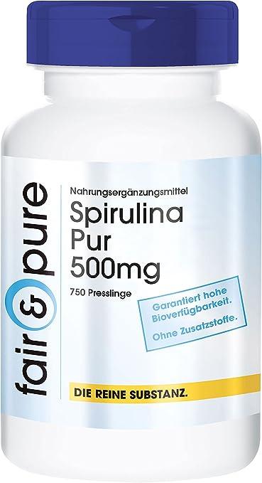 Spirulina platensis 500mg - Polvo prensado de alga Espirulina - Vegana - Alta pureza - 740 Comprimidos: Amazon.es: Salud y cuidado personal