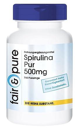 Spirulina Pur - 750 bolitas de alga spirulina en polvo (500 mg de Spirulina Platensis) - Sustancia pura vegetariana: Amazon.es: Salud y cuidado personal
