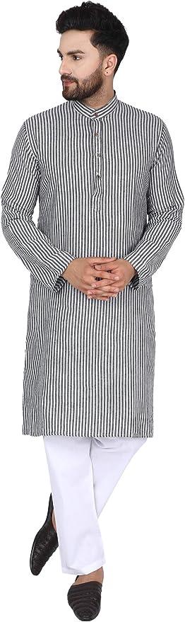 SKAVIJ Mens Tunic Cotton Long Kurta Indian Casual Button Down Shirt