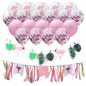 Amazon.com: Flamingo Cinta Cena Silla Pull Bandera Plumas ...