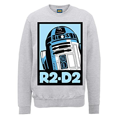Gris Large Star Chiné Wars Homme Poster shirt R2d2 Sweat FWf6OI7