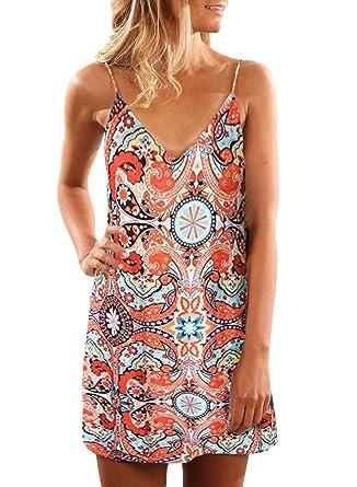cee6758f HOTAPEI Womens Sundress Juniors Spaghetti Straps Sleeveless Sexy V Neck  Summer Beach Boho Hawaiian Floral Print