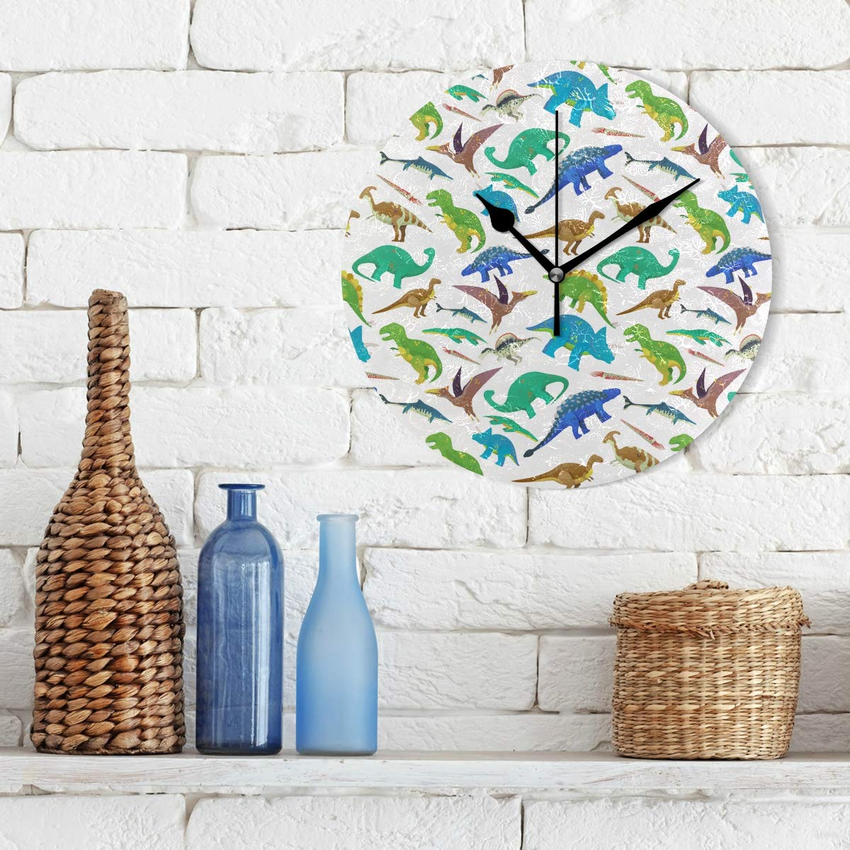 Amazon.com: Bush August Modern Creative Wall Clock Round Easy to Read & Hang Home/Office/School Clock,Decorative for Kitchen, Living Room, Bedroom White ...
