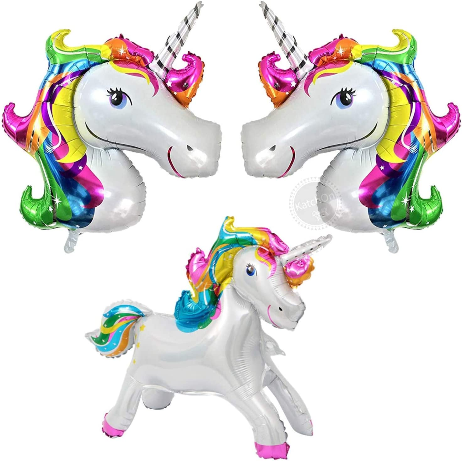 Unicorn Balloons Decorations Set - 42inch, Large, Pack of 3 | One Standing Mylar Unicorn Balloon - 23 inch| Unicorn Theme Birthday Decorations | Unicorn Party Supplies for Girls and Kid's Birthday Decorations Supplies