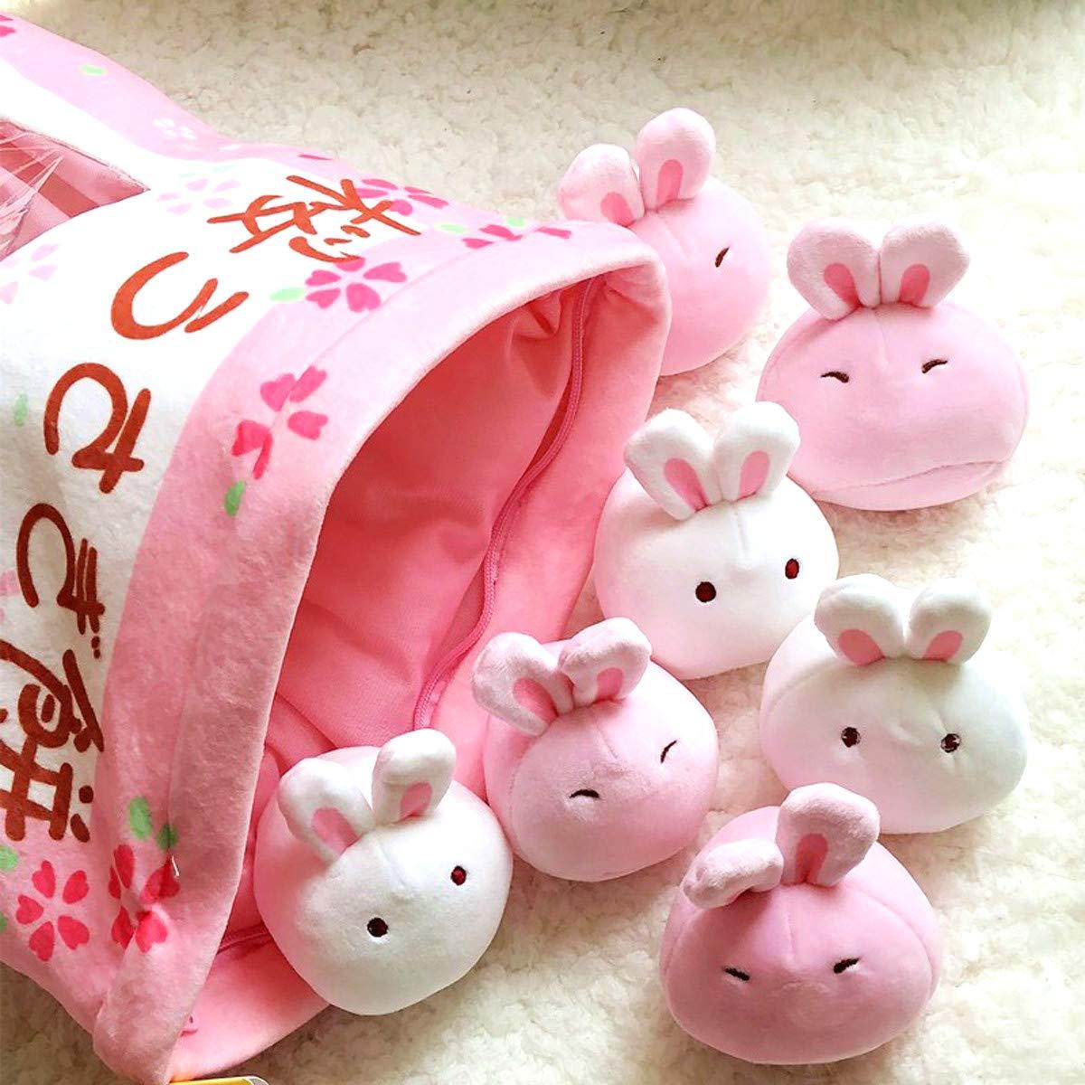 Nenalayo Cute Throw Pillow Stuffed Animal Toys Removable Fluffy Bunnies Creative Gifts for Teens Girls Kids by Nenalayo (Image #3)