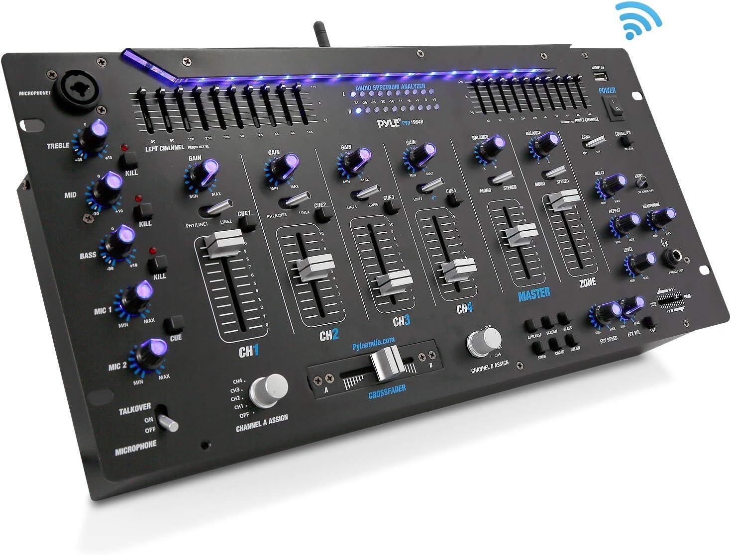 Pyle 6 Channel Mixer, Bluetooth DJ Controller, Stereo Mixer, Professional Sound System, LED Illumination, Mixer Digital Audio, Digital Mixing System, Speed Control, 5U Rack Mount System, PYD1964B.5