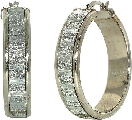925 Sterling Silver 30mm Sparkly Stardust Striped Hoop Earrings