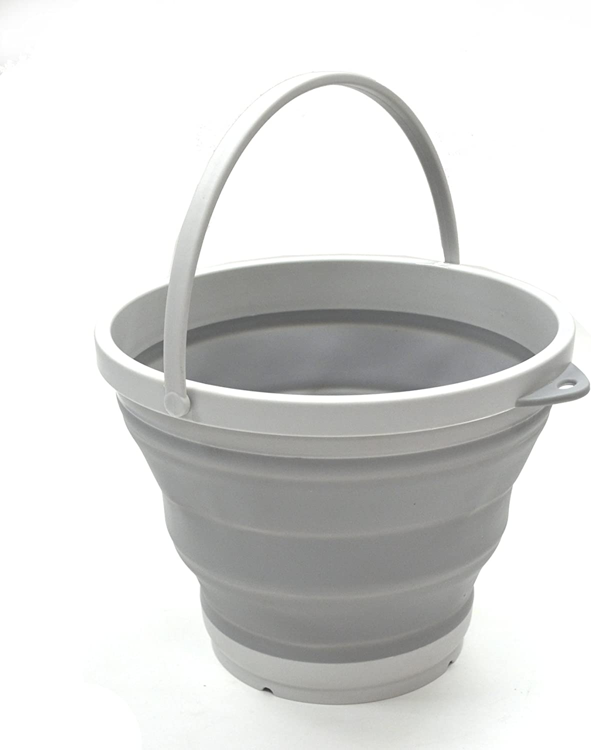 Foldable Round Tub Size 28cm Dia Space Saving Outdoor Waterpot SAMMART Collapsible Plastic Bucket Portable Fishing Water Pail 1, Grey