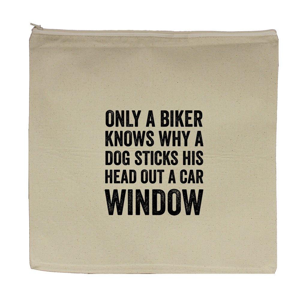 A Biker Sticks His Head Out A Car Window Canvas Zipper Tote Bag Makeup Bag
