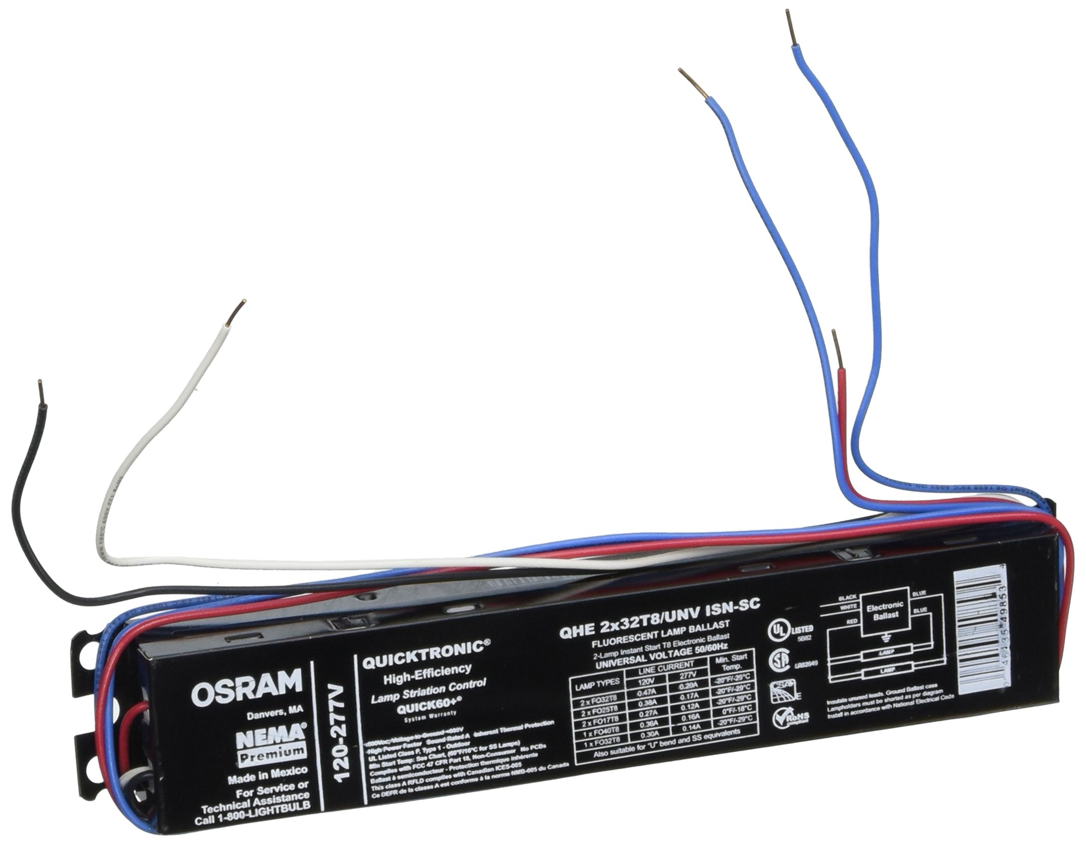 Sylvania QHE2X32T8/UNV Isn-Sc Fluorescent Ballast, 2 Lamp, 32W T8, 120/277V