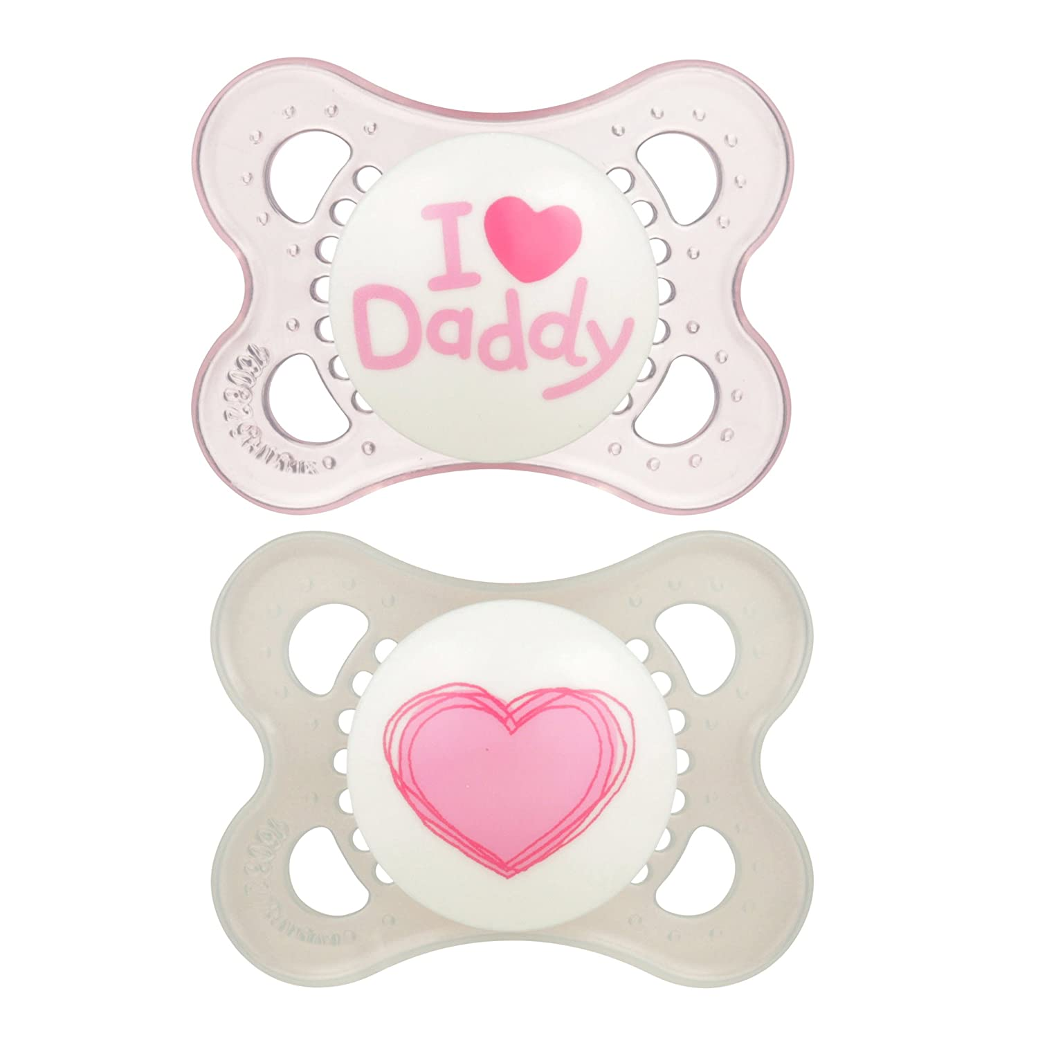 MAM Pacifiers, Baby Pacifier 0-6 Months, Best Pacifier for Breastfed Babies, 'I Love Daddy' Design Collection, Girl, 2-Count 1134-012-0-1