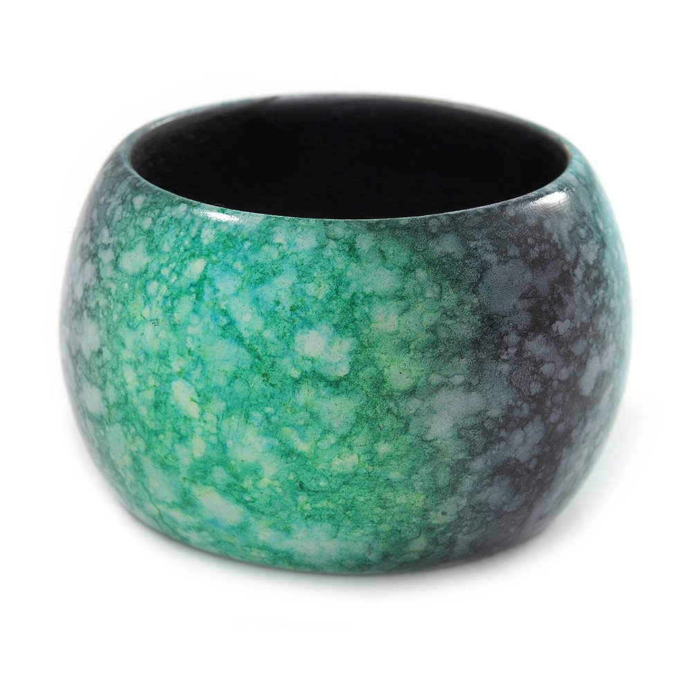 18cm L//Medium Avalaya Chunky Wide Green//Black Marble Effect Wood Bangle Bracelet