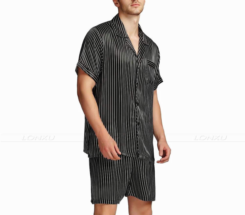 Mens Silk Satin Short Pajamas Pajama Pyjamas Set Sleepwear Set Loungewear,Navy Blue Strip,XL by Toping Fine sleepwear (Image #4)